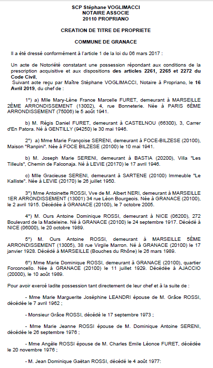Avis de création de titre de propriété - commune de Granace (Corse-du-Sud)