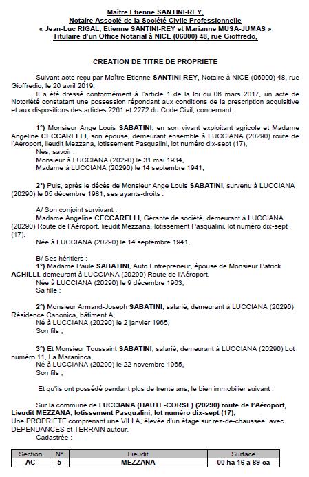 Avis de création de titre de propriété - commune de Zerubia (Corse-du-Sud)