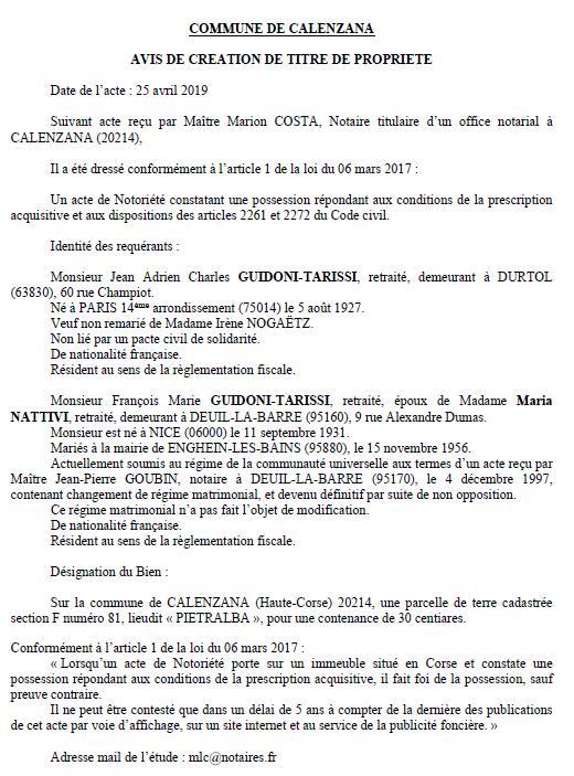 Avis de création de titre de propriété - commune de Calenzana (Haute-Corse)