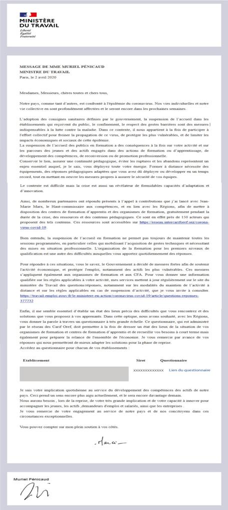 Communication auprès des organismes de formation Corona Virus COVID-19   Continuité pédagogique et ressources