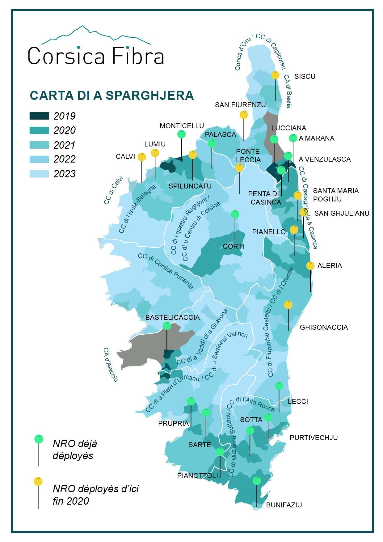 Sparghjera di a fibra - Les travaux de déploiement de la fibre optique s'accélèrent sur le réseau Corsica Fibra