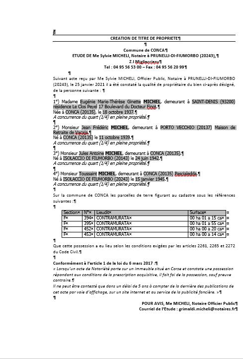 Avis de création de titre de propriété-Commune de Conca(Corse-du-sud)