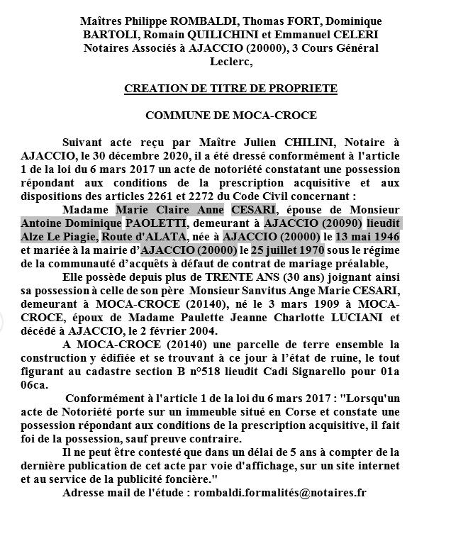 Avis de création de titre de propriété-Commune de Moca-Croce (Corse-du-sud)