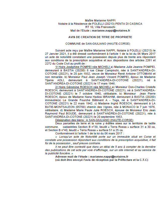 Avis de création de titre de propriété - Commune de San Giuliano (Haute-Corse)