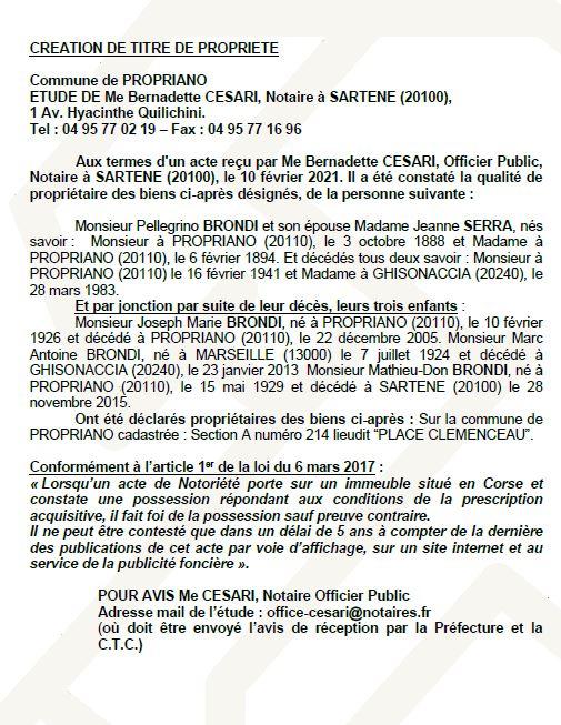 Avis de création de titre de propriété - commune de Propriano (Corse du Sud)