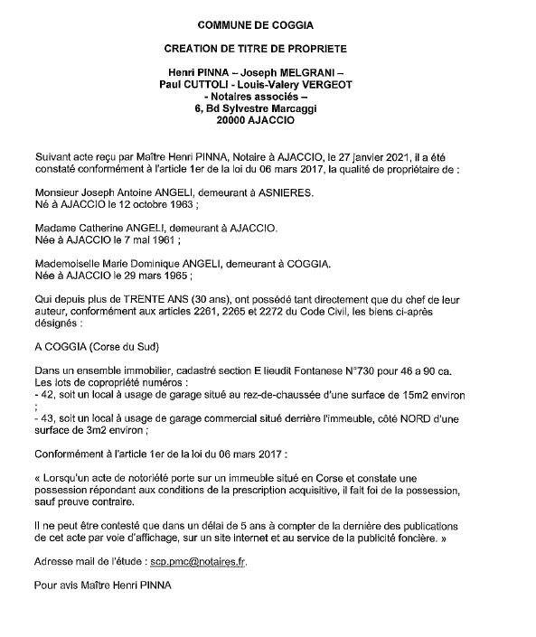 Avis de création de titre de propriété - commune de Coggia (Corse du Sud)