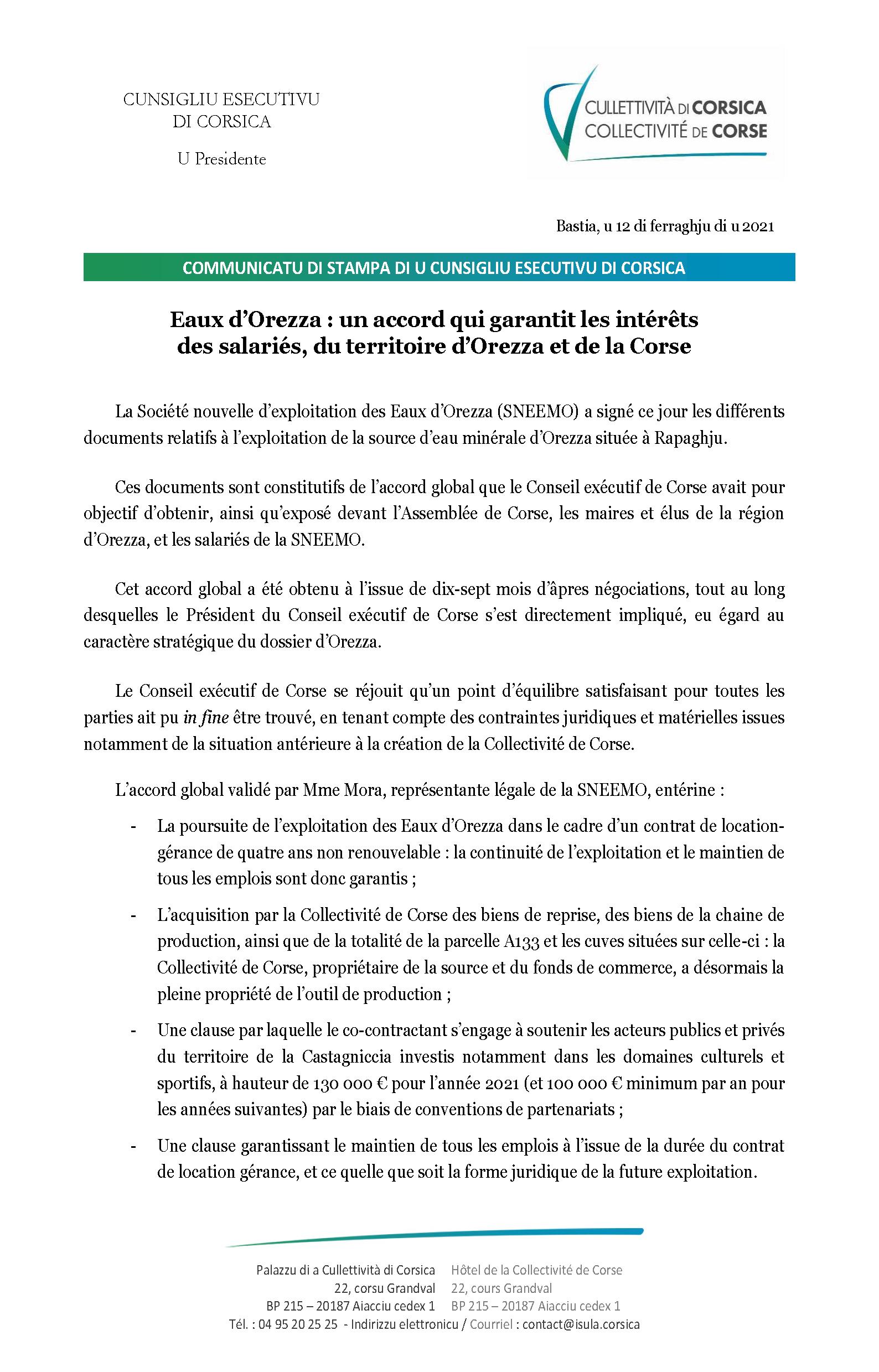 Cumunicatu di stampa di u Presidente di u Cunsigliu esecutivu di Corsica di venneri u 12 di ferraghju di u 2021