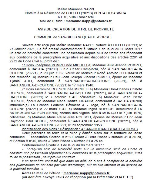 Avis de création de titre de propriété - commune de San-Giuliano (Haute Corse)
