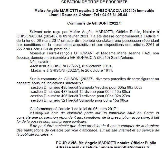 Avis de création de titre de propriété - commune de Ghisonaccia (Haute Corse)