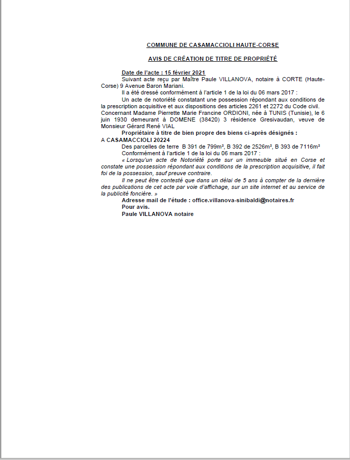 Avis de création de titre de propriété - Commune de Casamaccioli (Haute-Corse)