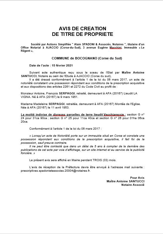 Avis de création de titre de propriété - Commune de Bocognano (Corse-du-Sud)