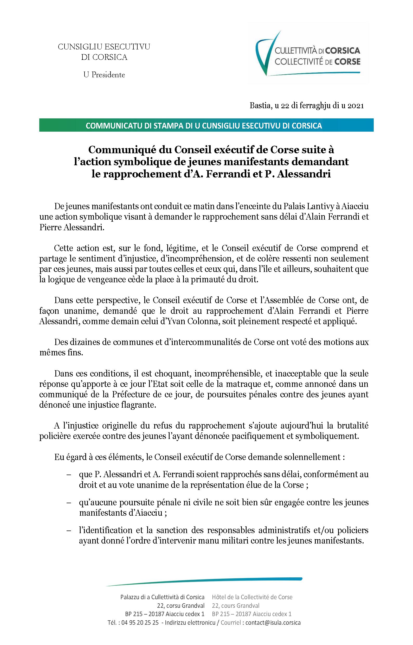 Communiqué du Conseil exécutif de Corse suite à l'action symbolique de jeunes manifestants demandant le rapprochement d'A. Ferrandi et P. Alessandri
