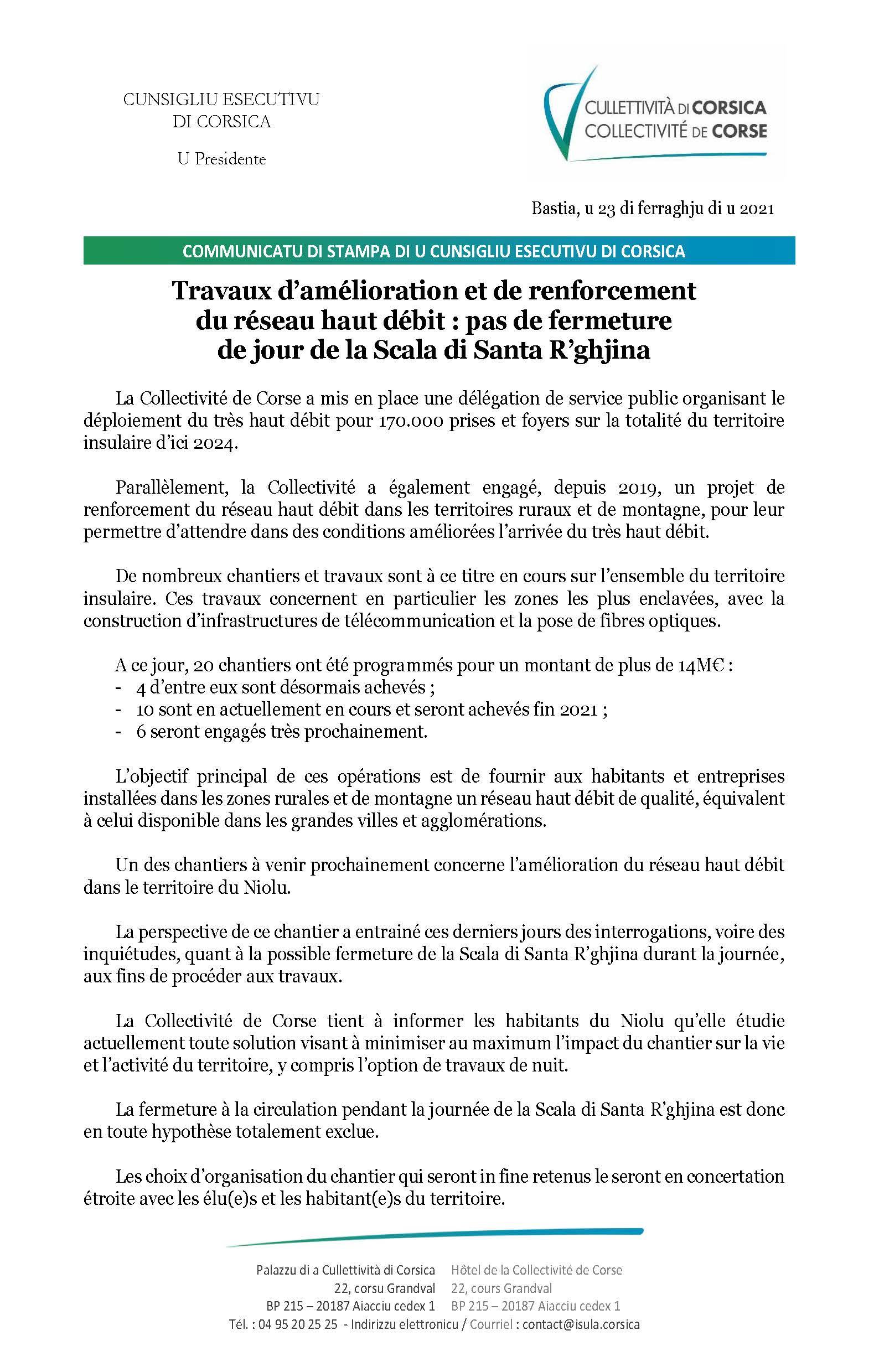 Cumunicatu di stampa di u Cunsigliu esecutivu di Corsica di u 23 di ferraghju di u 2021