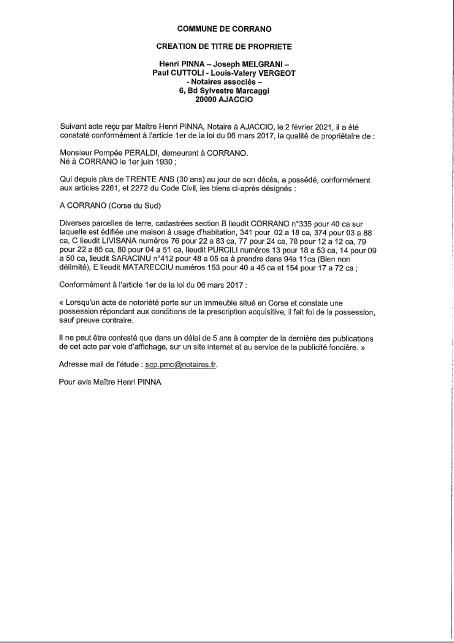 Avis de création de titre de propriété - Commune de Corrano (Corse-du-Sud)