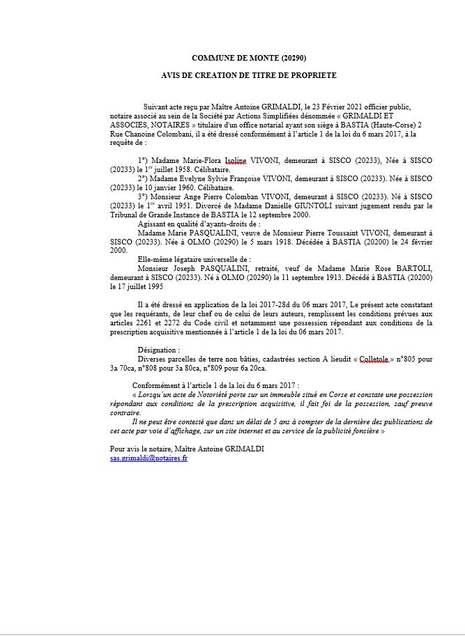 Avis de création de titre de propriété - Commune de Monte (Haute-Corse)