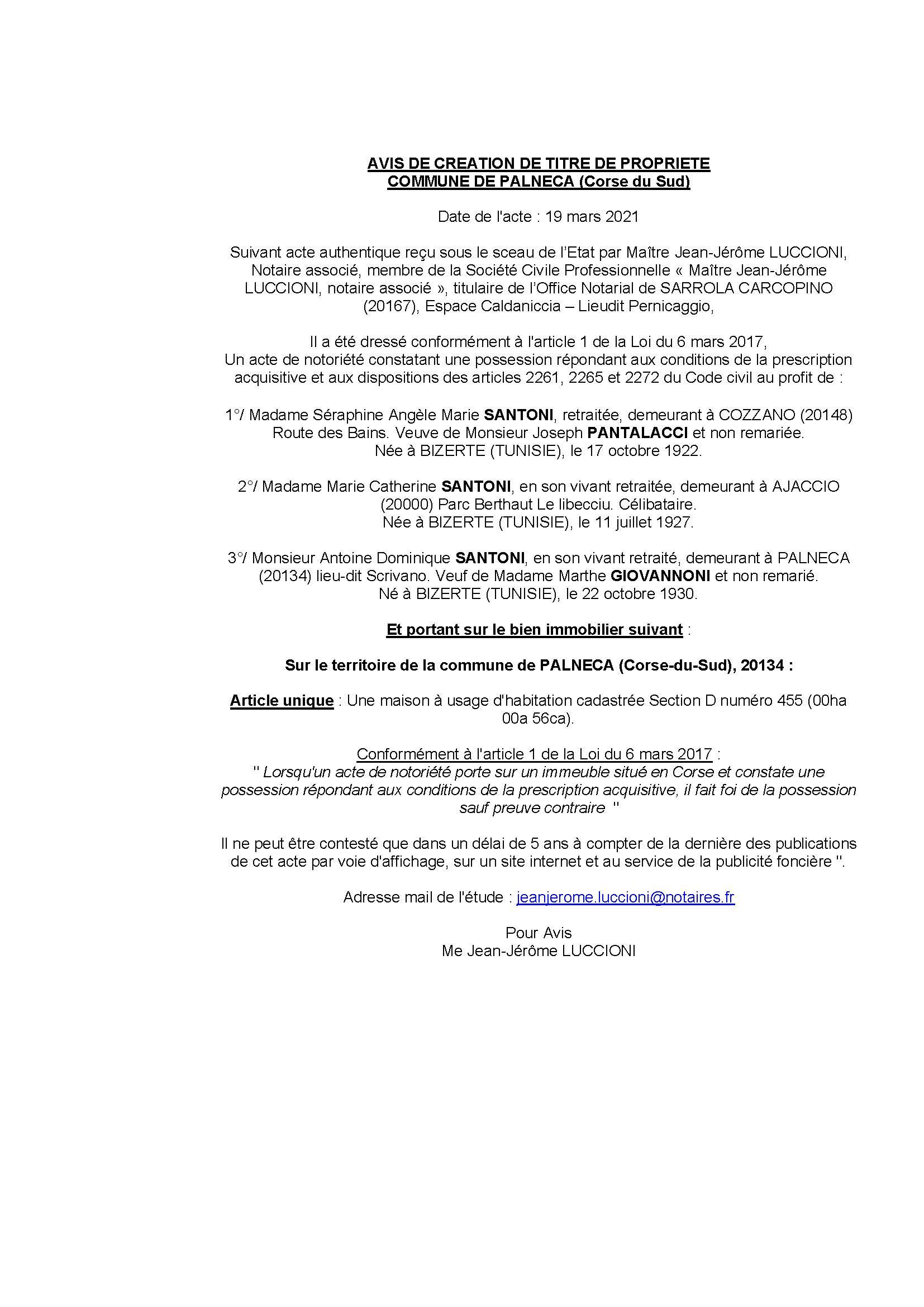 Avis de création de titre de propriété - Commune de Palneca ( Corse-du-sud)