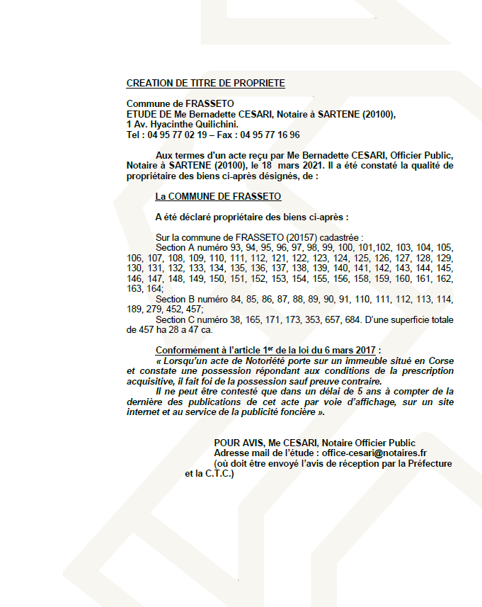 Avis de création de titre de propriété - Commune de Frasseto  ( Corse-du-sud)