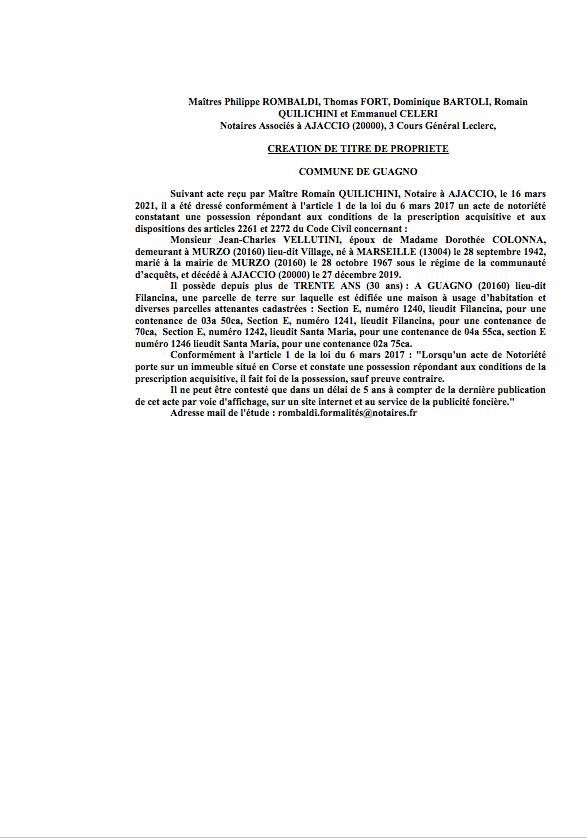 Avis de création de titre de propriété - Commune de Guagno (Corse-du-Sud)