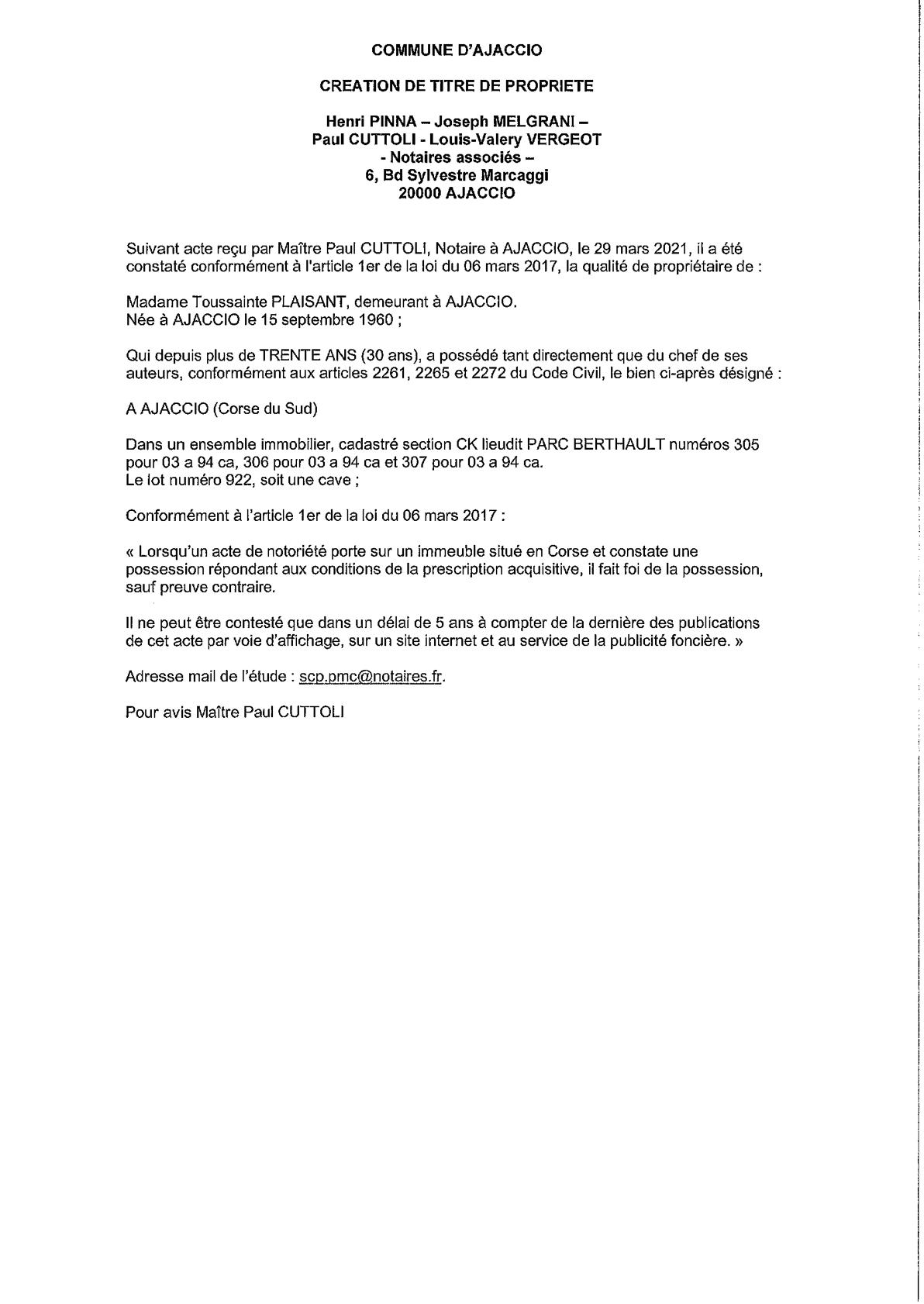 Avis de création de titre de propriété - Commune d'Ajaccio (Corse-du-Sud)