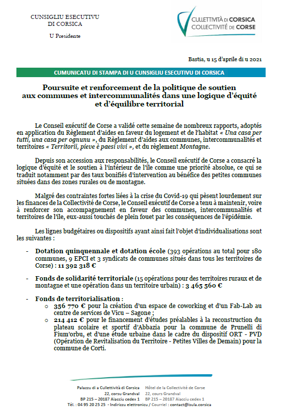 Poursuite et renforcement de la politique de soutien aux communes et intercommunalités dans une logique d'équité et d'équilibre territorial