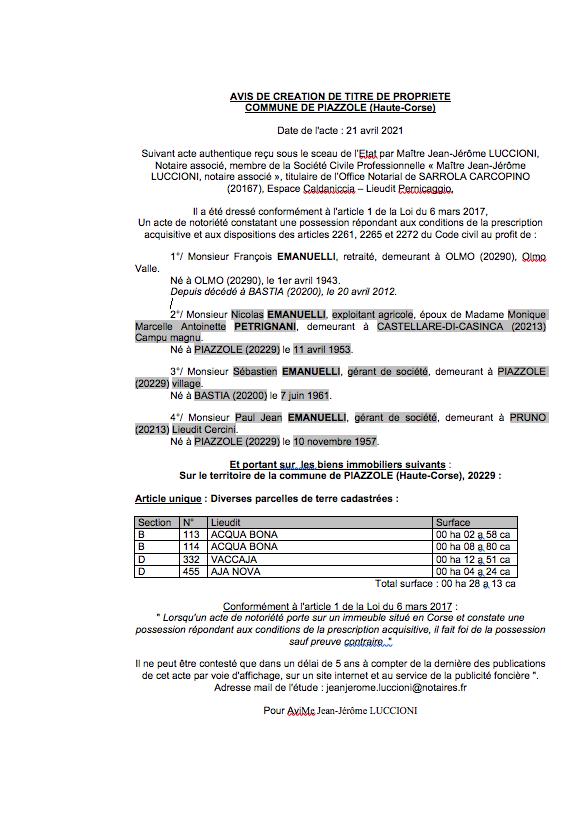 Avis de création de titre de propriété - Commune de Piazzole (Haute-Corse)