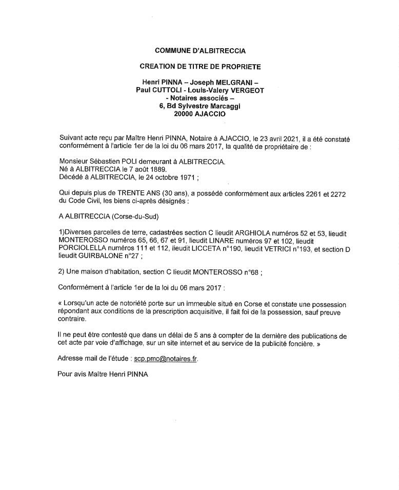 Avis de création de titre de propriété - Commune d'Abitreccia (Corse-du-Sud)