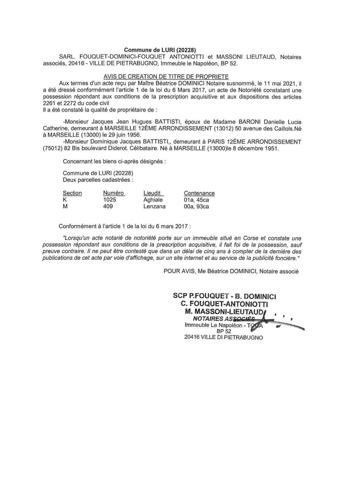 Avis de création de titre de propriété - Commune de Luri (Haute-Corse)