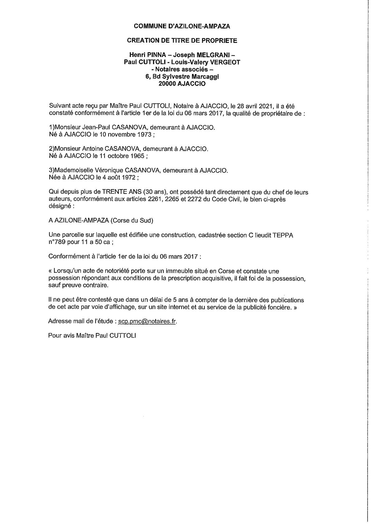 Avis de création de titre de propriété - Commune d'Azilone-Ampaza (Corse-du-Sud)