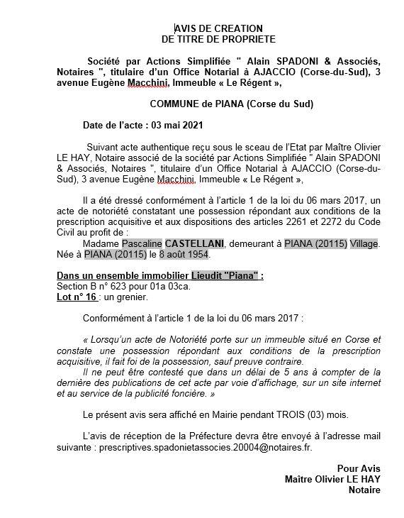 Avis de création de titre de propriété - Commune de Piana (Corse-du-Sud)