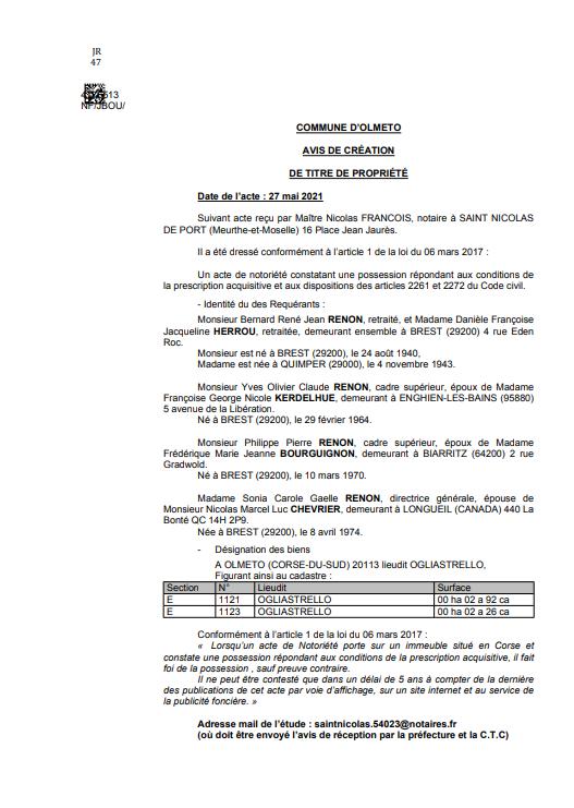 Avis de création de titre de propriété - Commune d'Olmeto (Haute-Corse)
