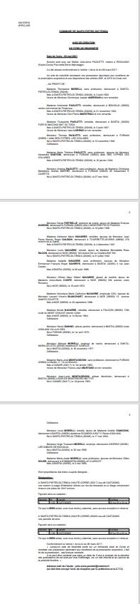 Avis de création de titre de propriété - Commune de Santo Pietro di Tenda (Haute-Corse)
