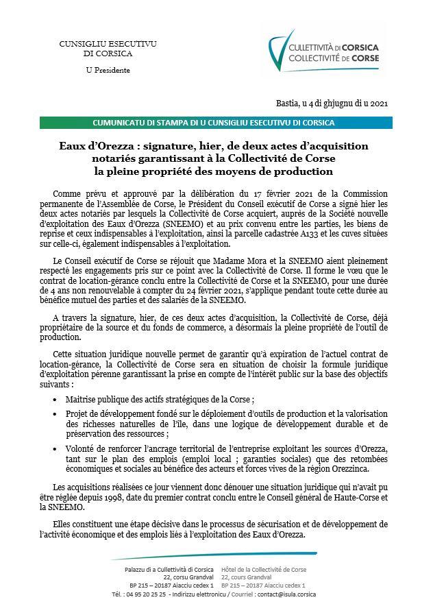 Eaux d'Orezza : signature, hier, de deux actes d'acquisition notariés garantissant à la Collectivité de Corse la pleine propriété des moyens de production