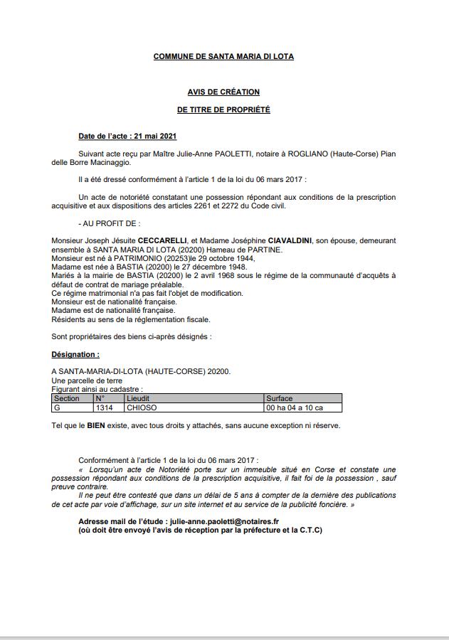 Avis de création de titre de propriété - Commune de Santa-Maria-di-Lota (Haute-Corse)