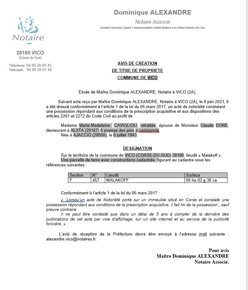 Avis de création de titre de propriété - Commune de Vico (Corse-du-Sud)