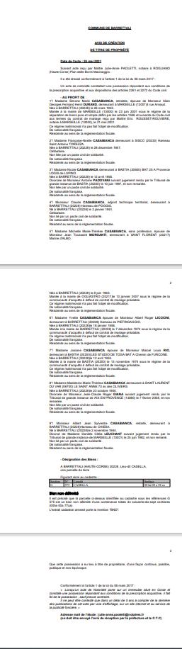 Avis de création de titre de propriété - Commune de Barretali (Haute-Corse)