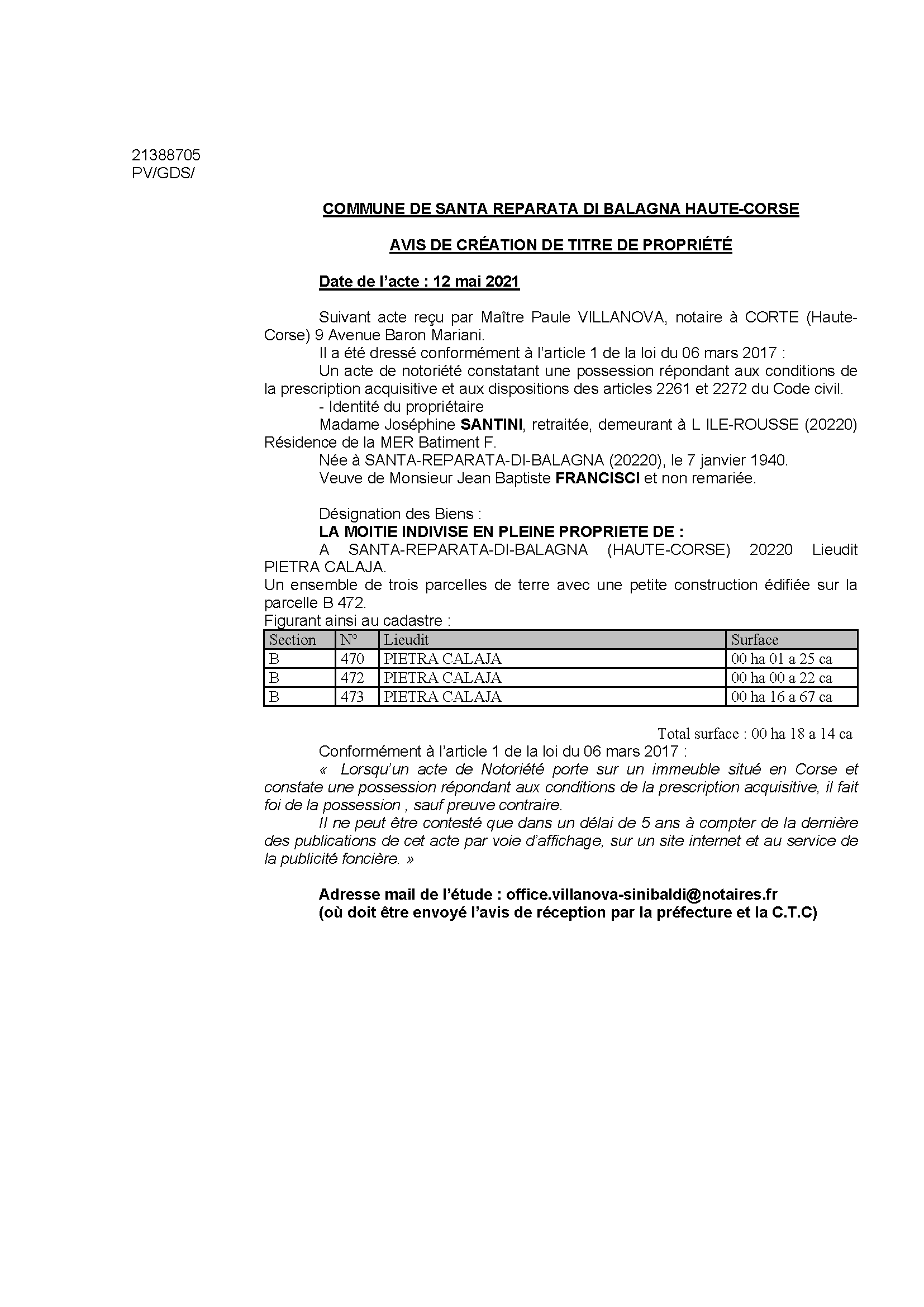 Avis de création de titre de propriété - Commune de Santa-Reparata-di-Balagna (Haute-Corse)