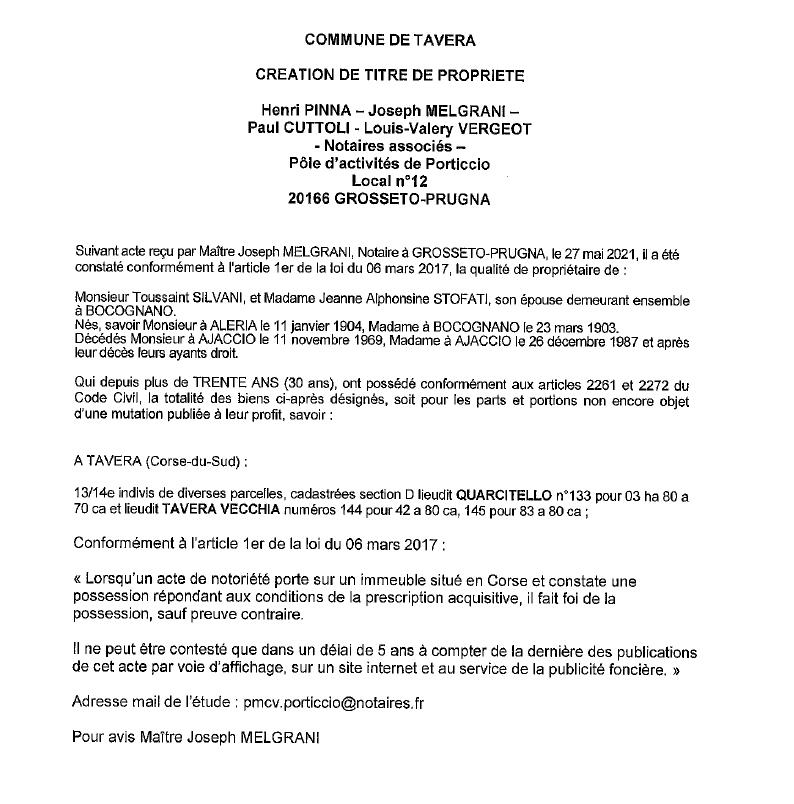 Avis de création de titre de propriété - Commune de Tavera (Corse-du-sud)