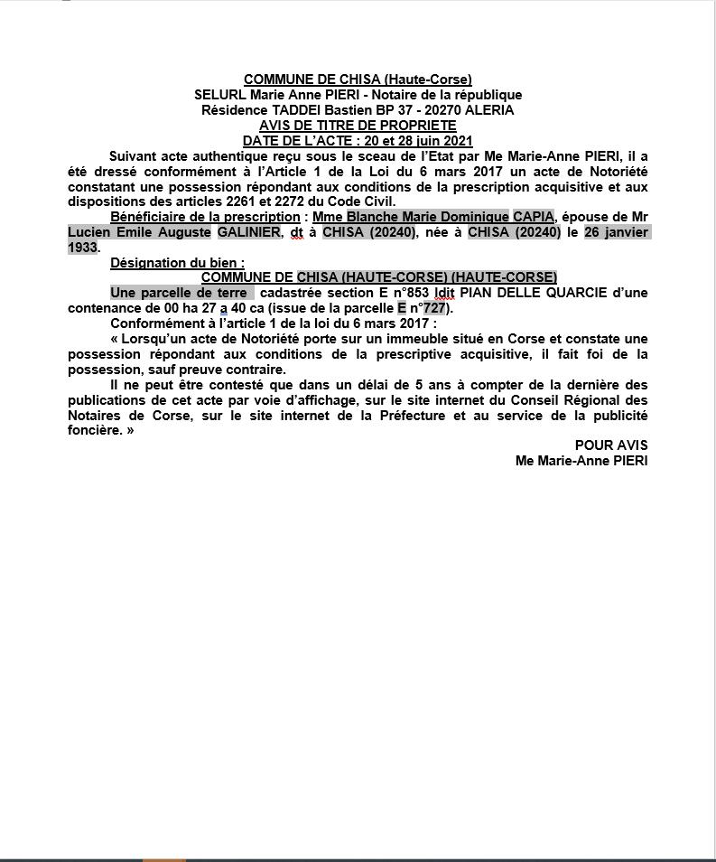 Avis de création de titre de propriété - Commune de Chisa (Haute-Corse)