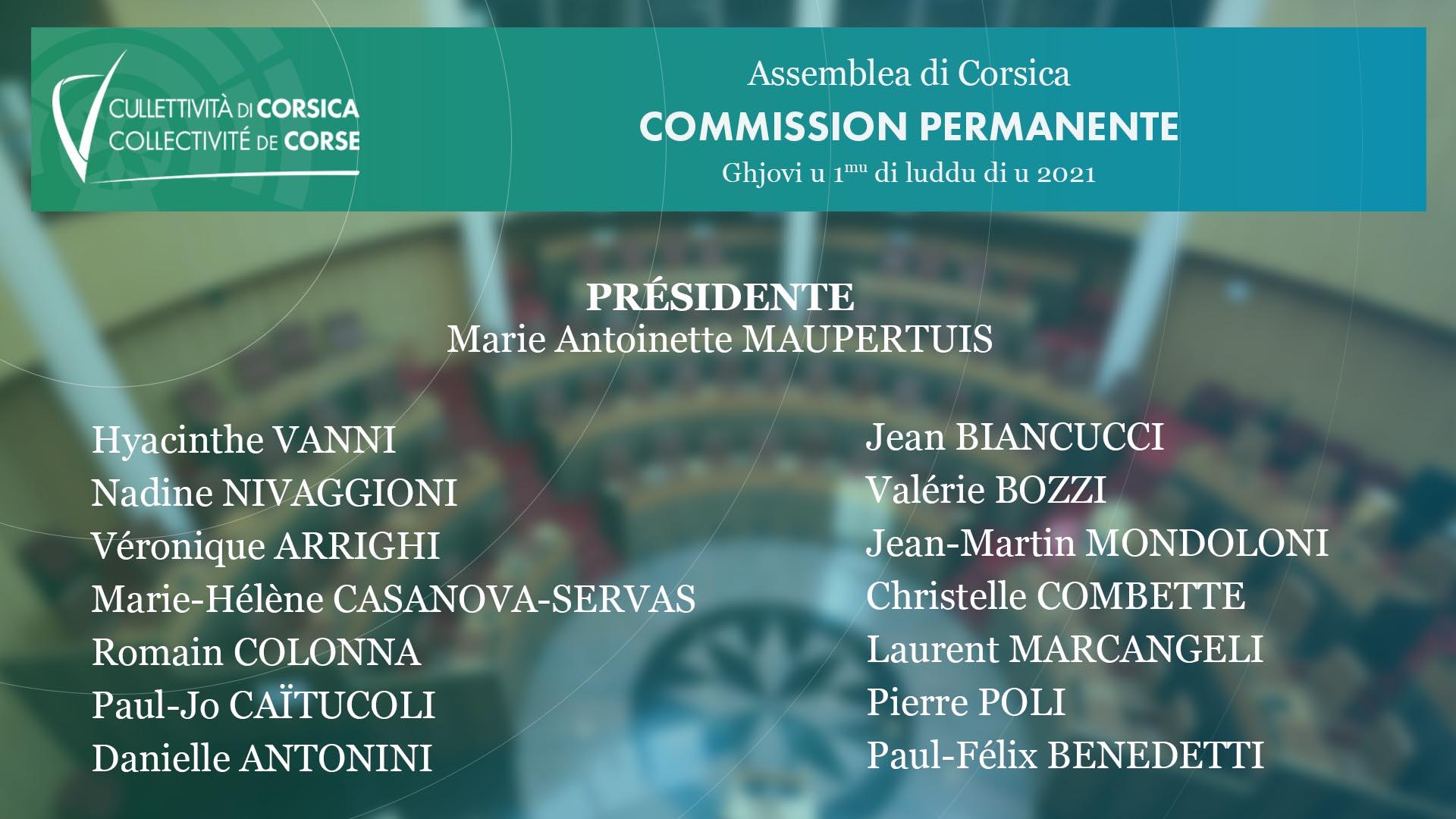 Election des membres de la Commission permanente - Election des Vice-Présidents de l'Assemblée de Corse