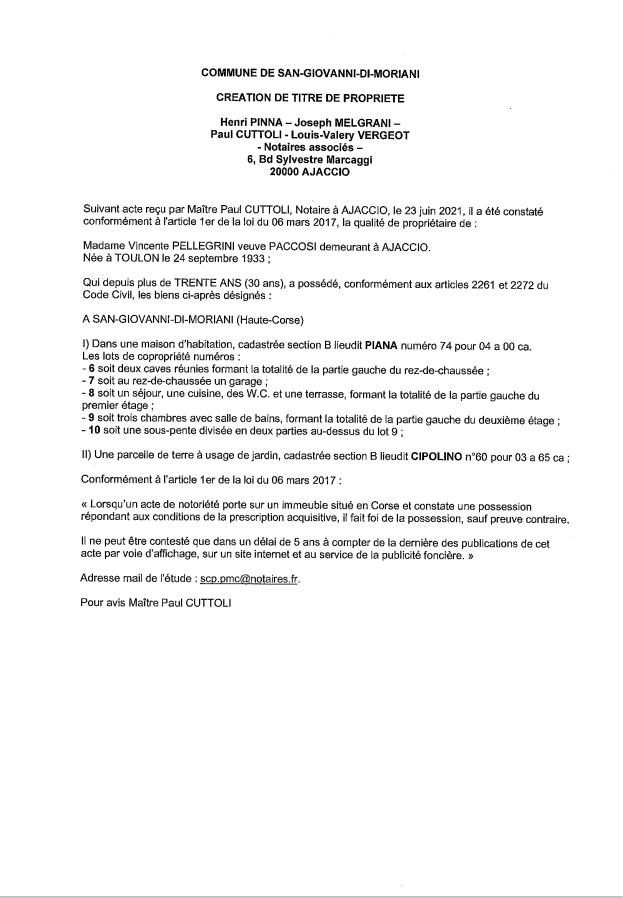 Avis de création de titre de propriété - Commune de San-Giovanni-di-Moriani (Haute-Corse)