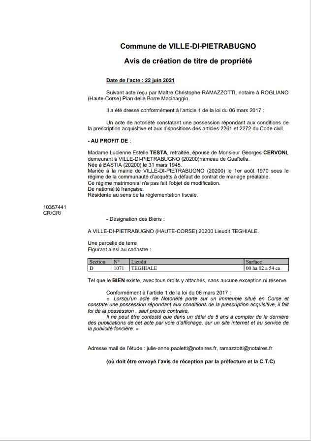 Avis de création de titre de propriété - Commune de  Ville di Pietrabugno (Haute-Corse)