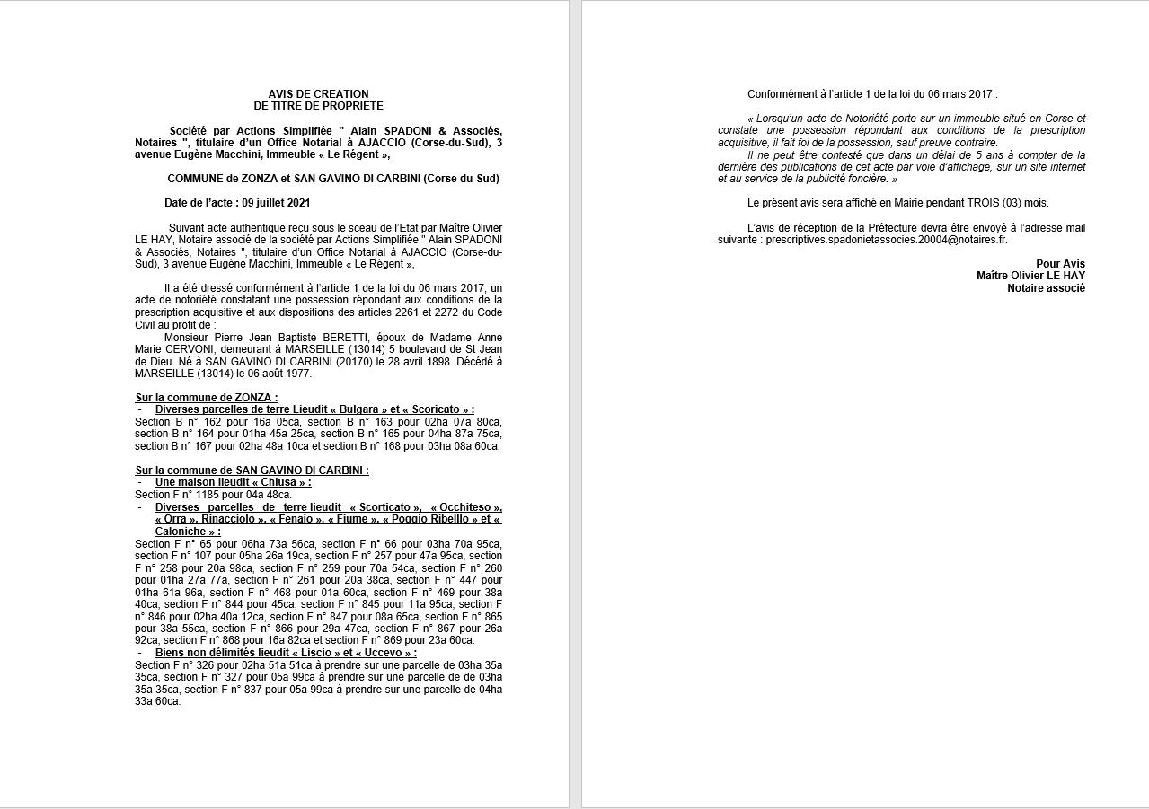 Avis de création de titre de propriété - Communes de Zonza et de San-Gavino-di-Carbini (Corse-du-Sud)