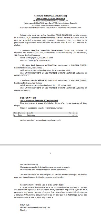 Avis de création de titre de propriété - Commune de Biguglia (Haute-Corse)