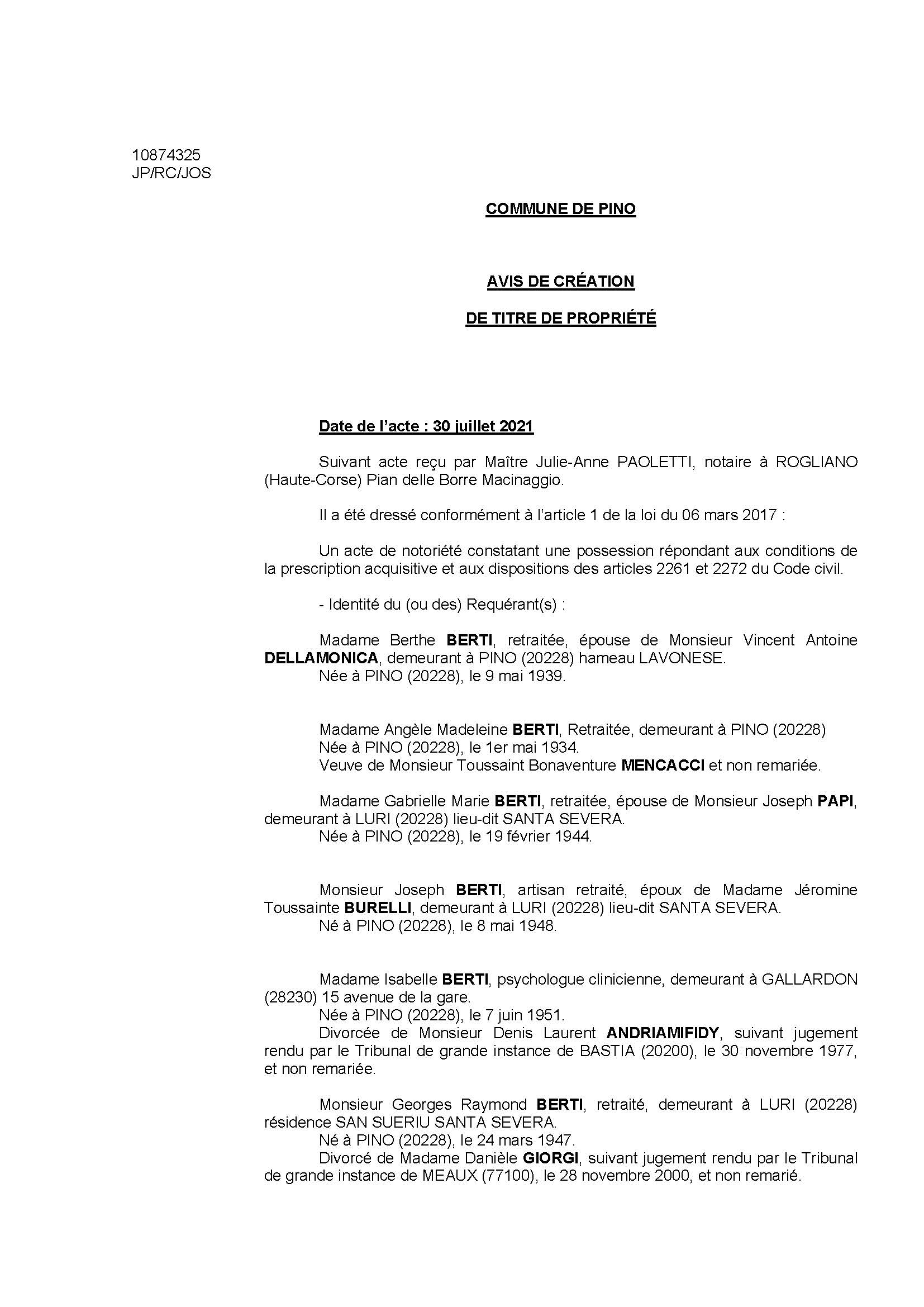 Avis de création de titre de propriété - Commune de Pino (Haute-Corse)
