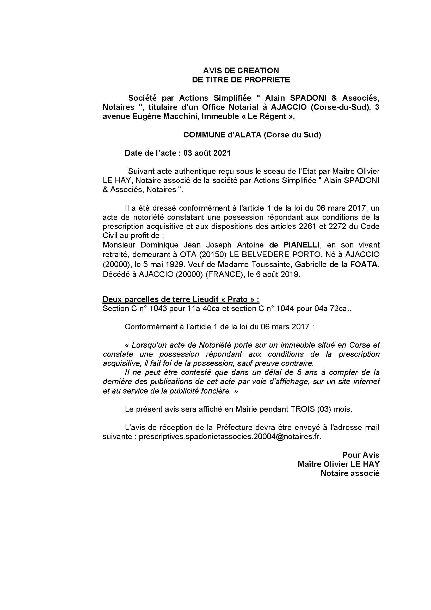 Avis de création de titre de propriété - Commune de Alata (Corse-du-Sud)