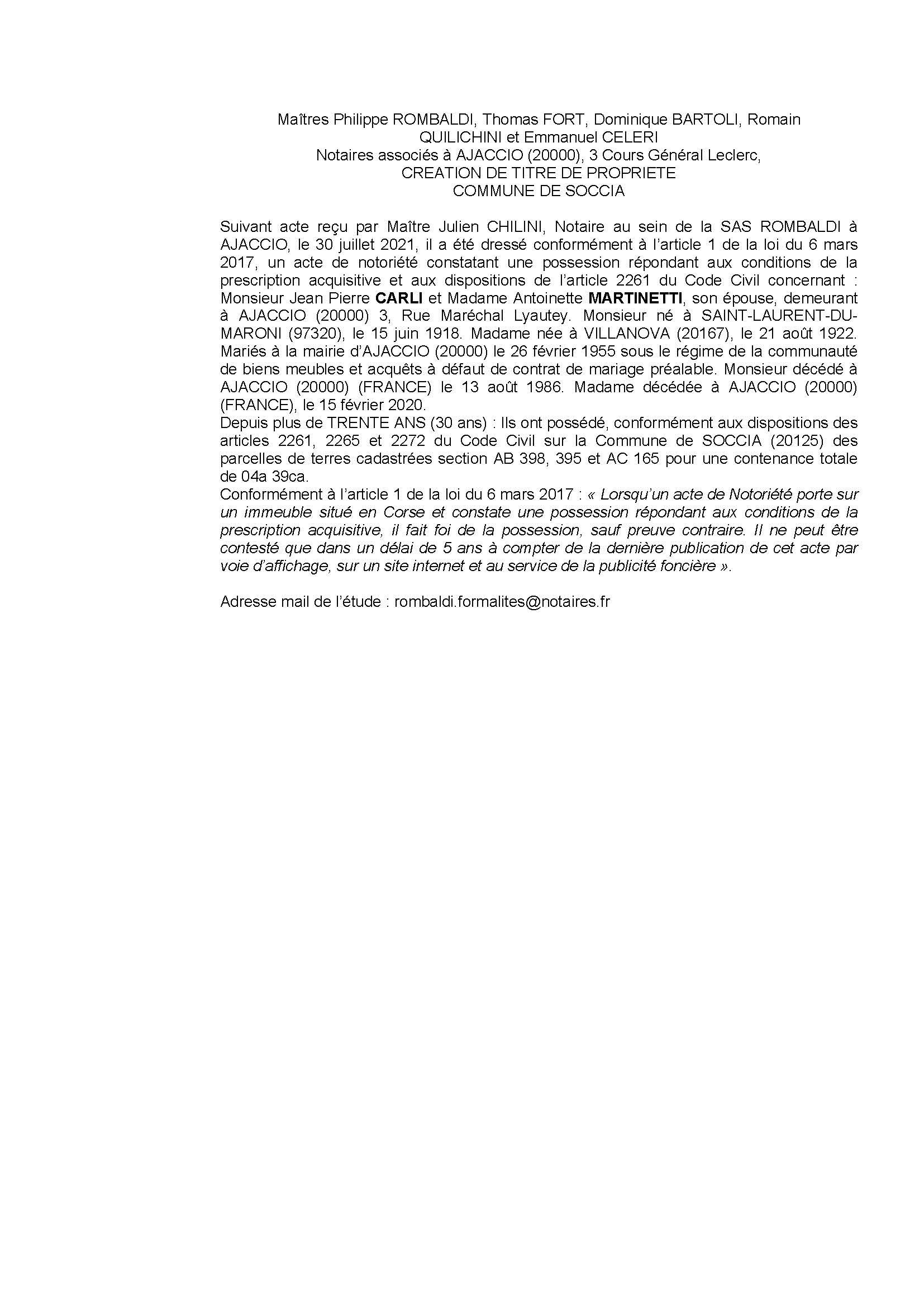 Avis de création de titre de propriété - Commune de Soccia (Corse-du-Sud)
