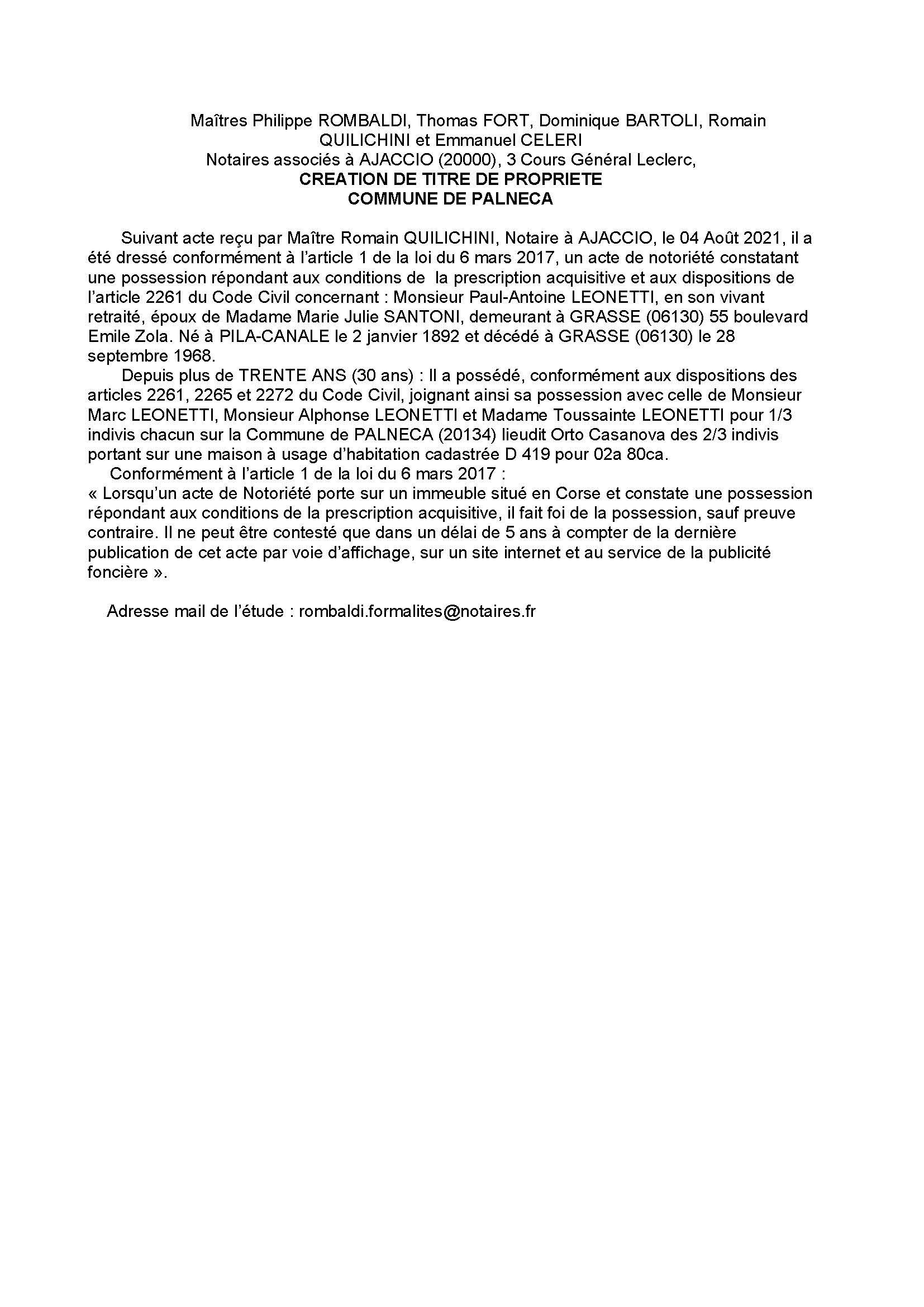 Avis de création de titre de propriété - Commune de Palenca (Corse-du-Sud)