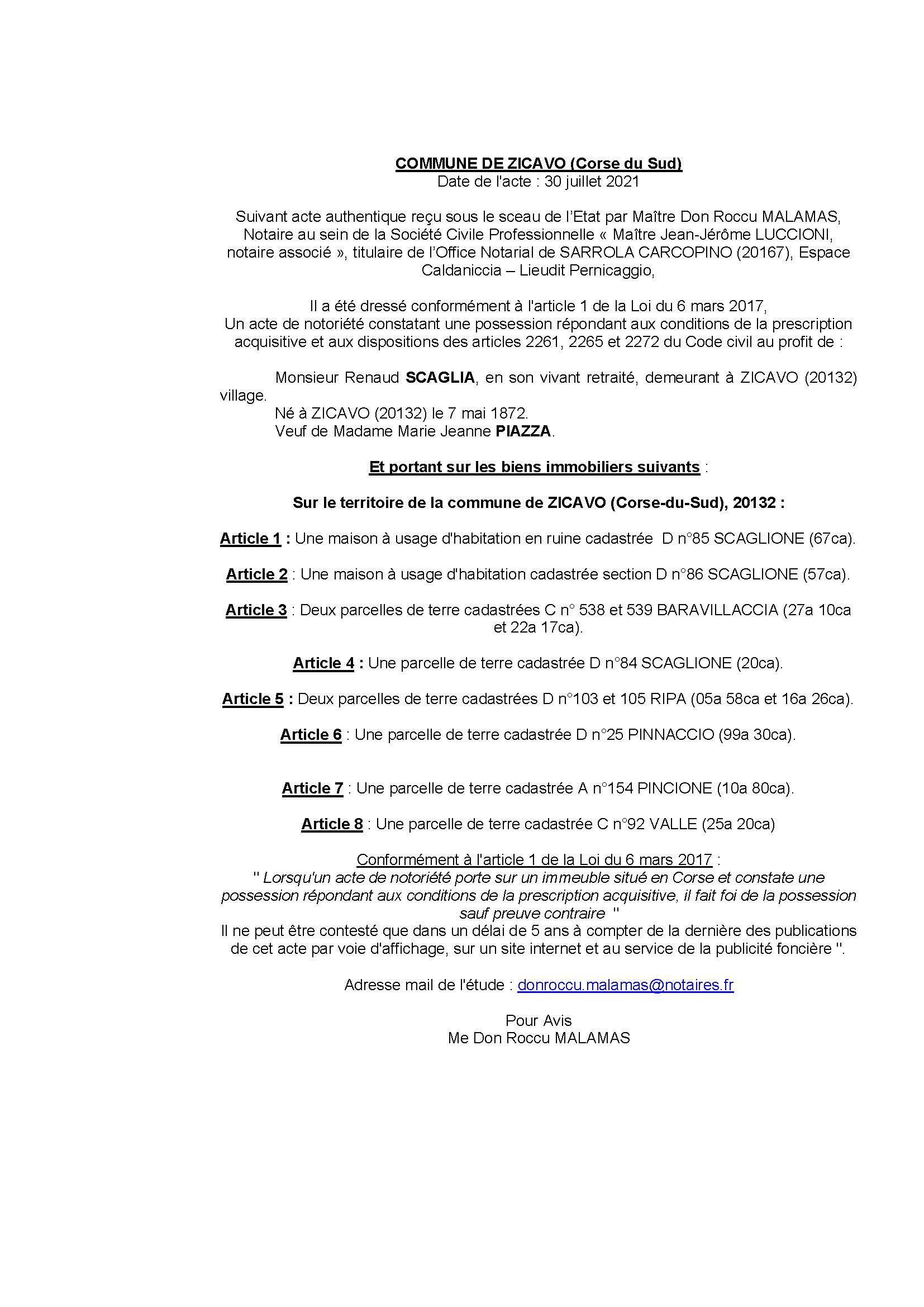 Avis de création de titre de propriété - Commune de Zicavo (Corse-du-Sud)