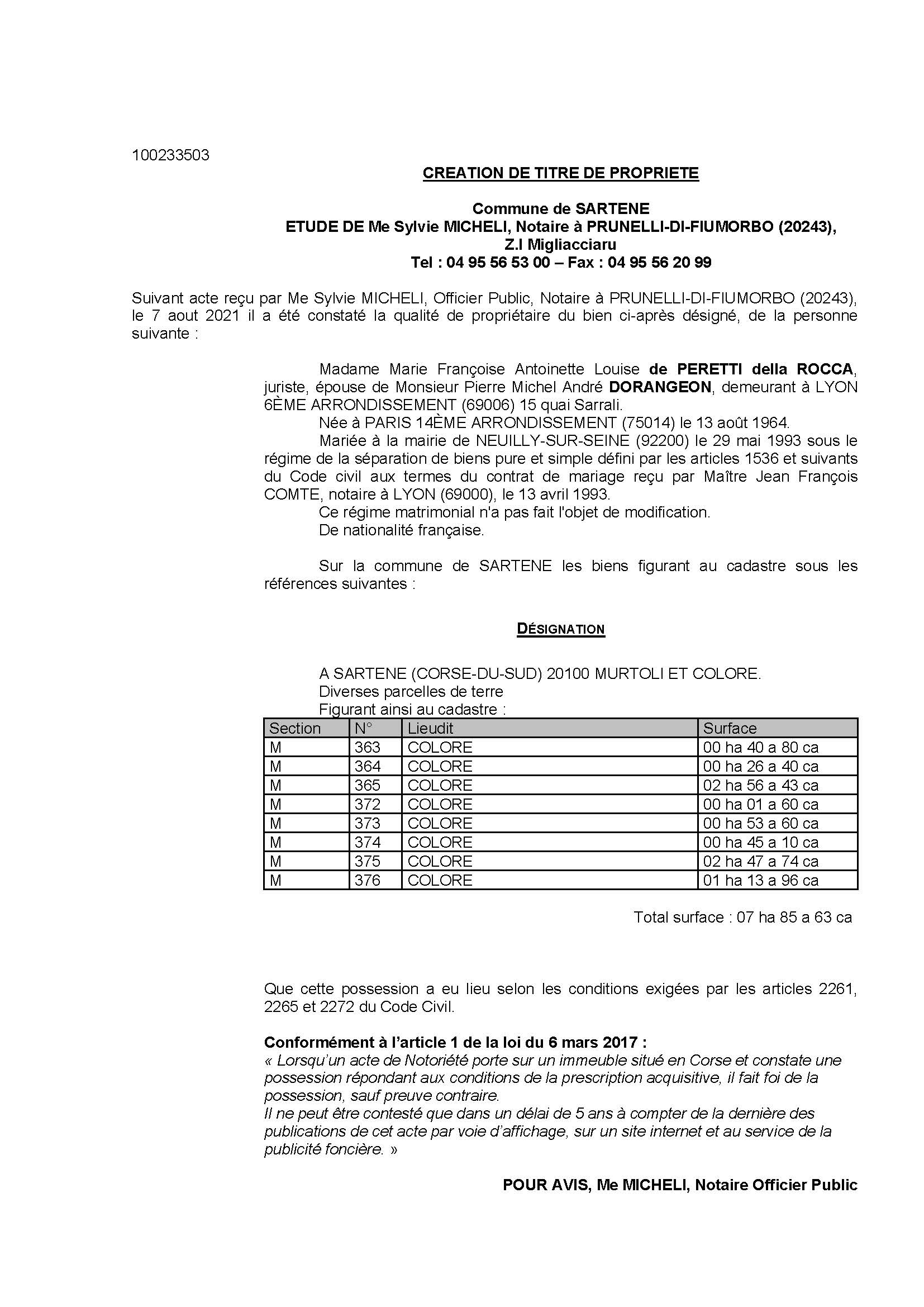 Avis de création de titre de propriété - Commune de Sartène (Corse-du-Sud)
