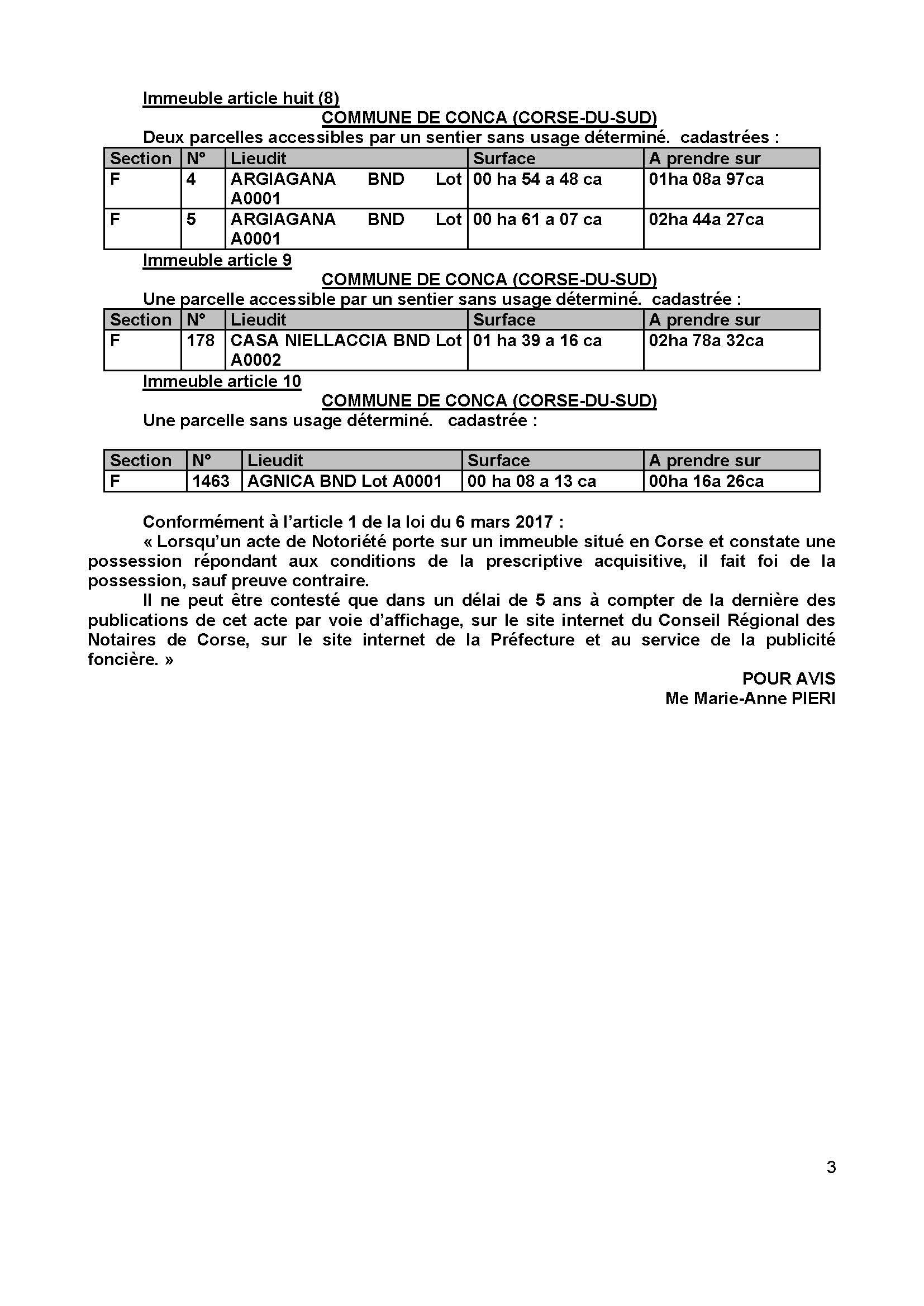 Avis de création de titre de propriété - Commune de Conca (Corse-du-Sud)